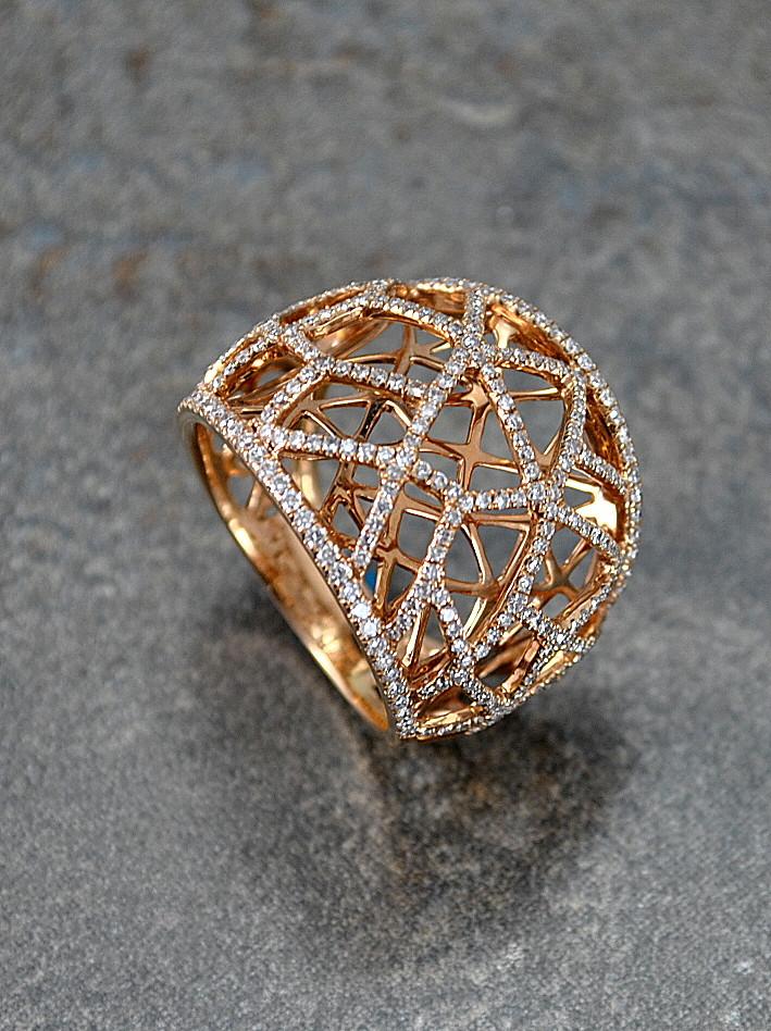 Anillo Oro Rosado  Diamantes
