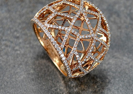Anillo Oro Rosa 18k  Malla Diamantes