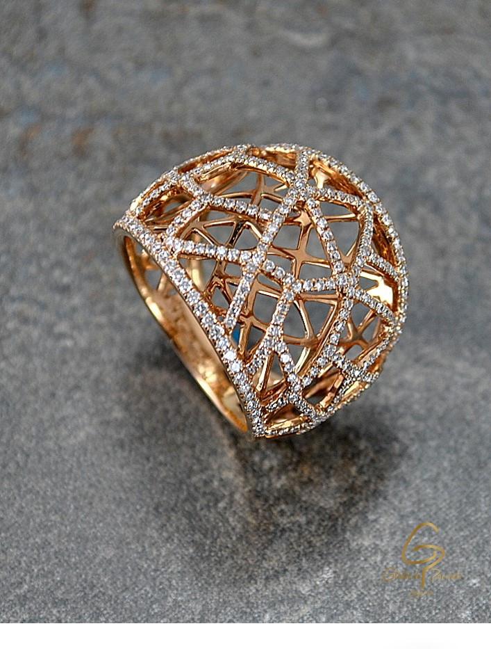 Anillo O.R 18k  Malla Diamantes