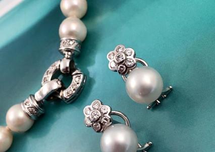 Set oro blanco 18k perla diamante