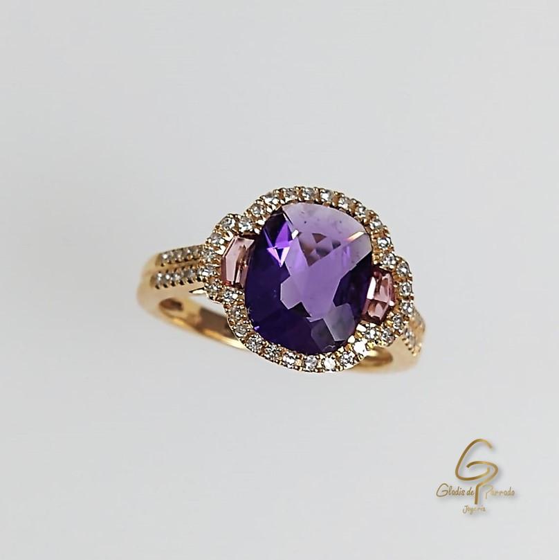 Anillo Agra O.A 18k Amatista, Diamantes y Rodalita
