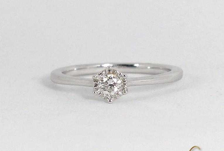 Solitario Oro Blanco 18k Diamante Sol