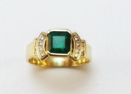 Anillo O.A  18k Esmeralda Cuadrada 0.99ct/diamantes 0.17ct