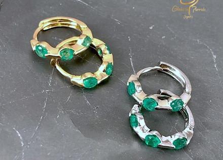 Candongas Oro Amarillo y oro Blanco 18k esmeralda