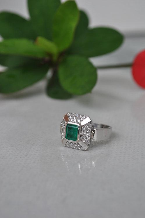 Anillo Oro B Cuadrado Diamantes 0.48ct Esmeralda 0.99ct Cuadrada Ref 30371