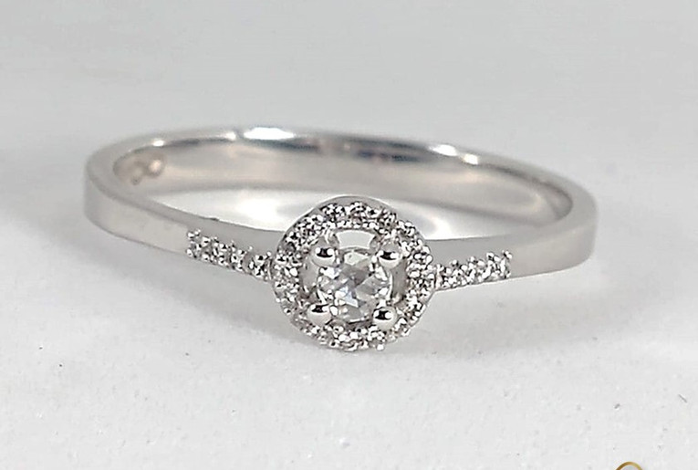 Anillo Oro Blanco 18k Corona Diamantes