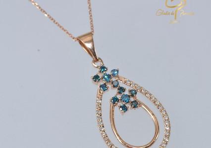 Oro Rosa 18k Doble Gota Diamantes