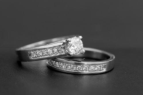 Juego Pisargolla Oro Blanco Diamantes Central 0.50k Arg adorno 0.32k Ref.25932