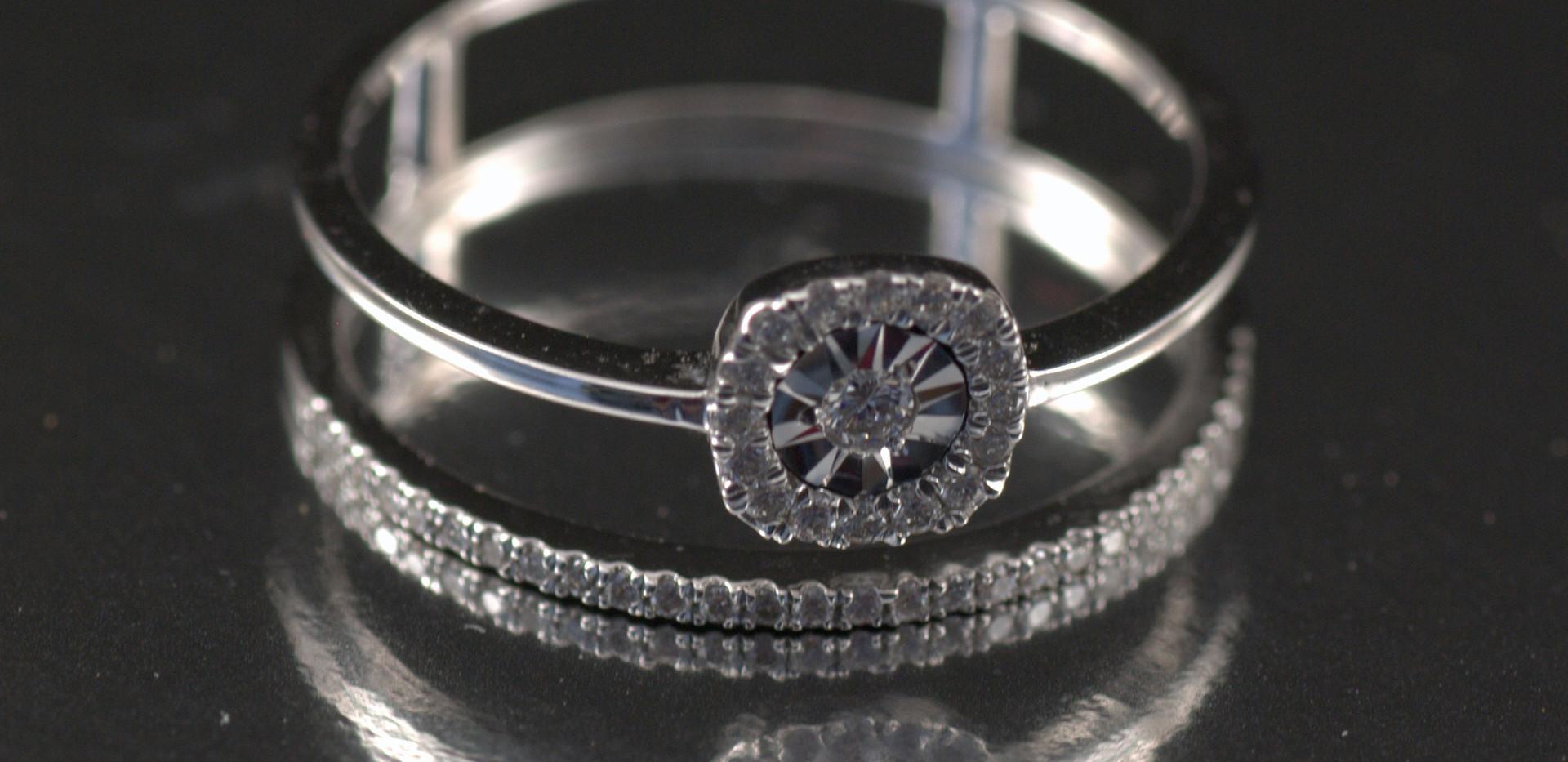 Argolla pisargolla Oro Blanco Diamantes_