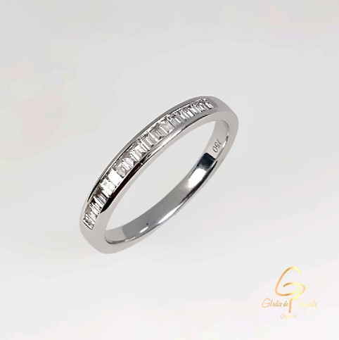 Argolla Oro Blanco 18k Diamantes Al Riel Baguett