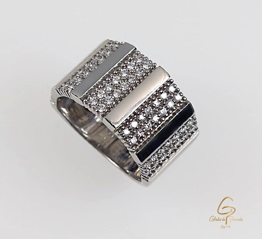 Anillo O. B 18k Barra Diamantes