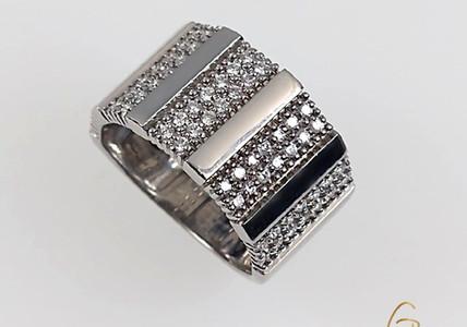 Anillo Oro Blanco 18k Barra Diamantes