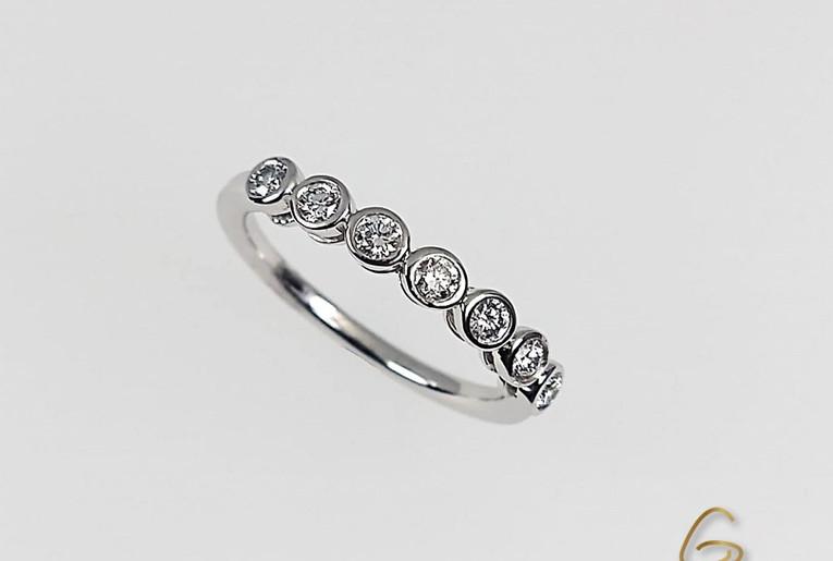 Argolla Oro Blanco 18k Diamantes Engaste Invisible