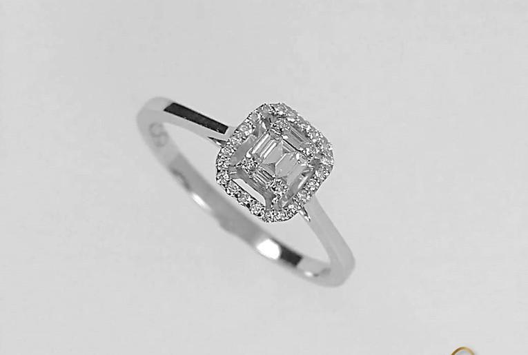 Anillo Oro Blanco 18k Diamante Bagguet