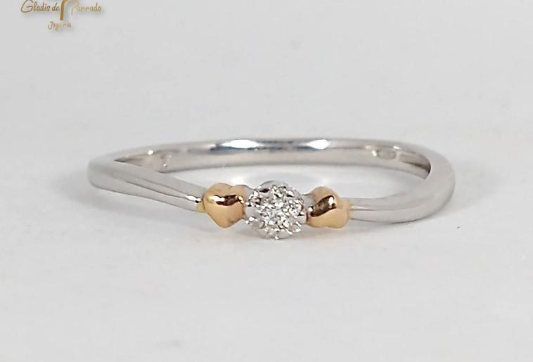 Solitario Oro Blanco 18k bicolor Diamante