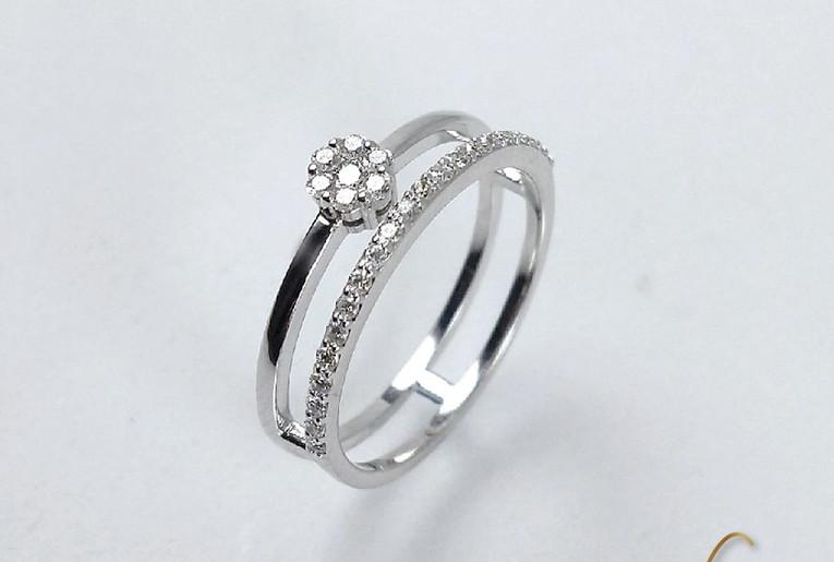 Prenda Y Pisaprenda Oro Blanco 18k Diamantes