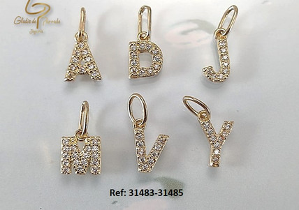 letras Oro Amarillo 18k circon