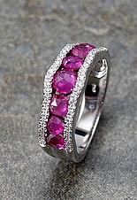Anillo Oro Blanco Barra Ruby Diamantes