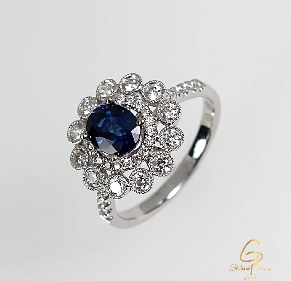 Anillo O.B 18k Corona diamantes y zafiro