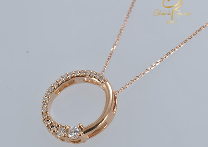 Oro Rosa Circulo Linea Diamantes