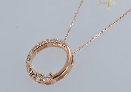 Dige Oro Rosa 18kCirculo Linea Diamantes
