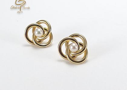 Topos Oro Amarillo 18k 3 Petalos Circulos perla