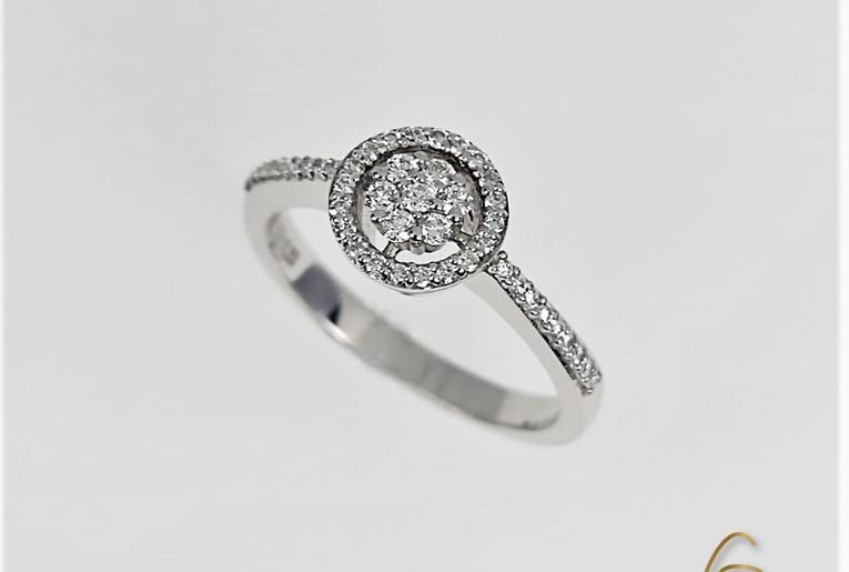 Anillo Oro Blanco 18k Adorno Centro Flor Pave Diamantes.