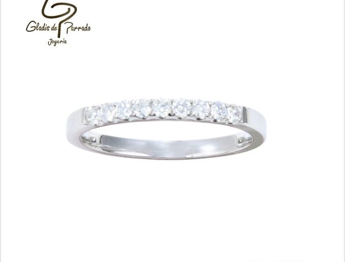 Argolla Oro Blanco 18k diamantes