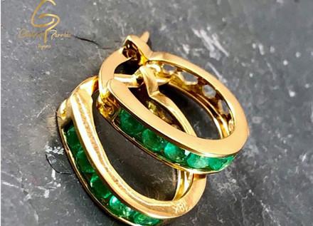 Candongas Oro Amarillo 18k Oval Esmeralda
