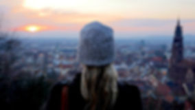 Sunset from Schlossberg Hill in Freiburg, Germany