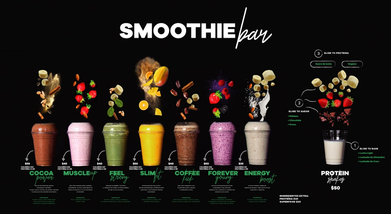 Menú Smoothies