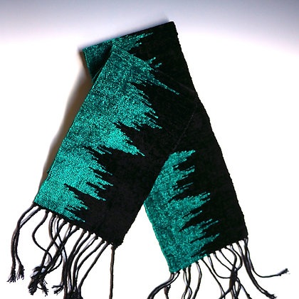 Teal Scarf with Zigs and Zags