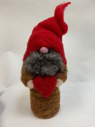 Needle Felted Gnome with heart