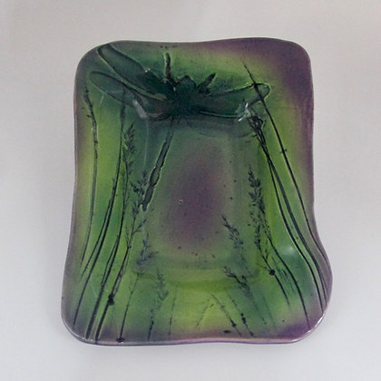Soap Dish - Purple with Dragonfly
