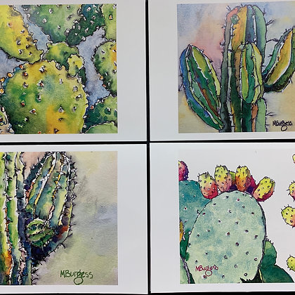 Cactus - 4 Card Set by Mary Burgess