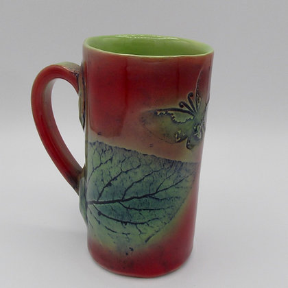Tall Mug - Red with Butterfly