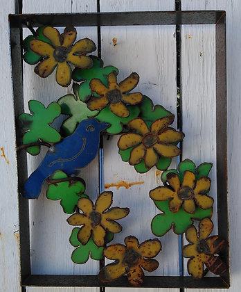 Blue Bird Yellow Flowers