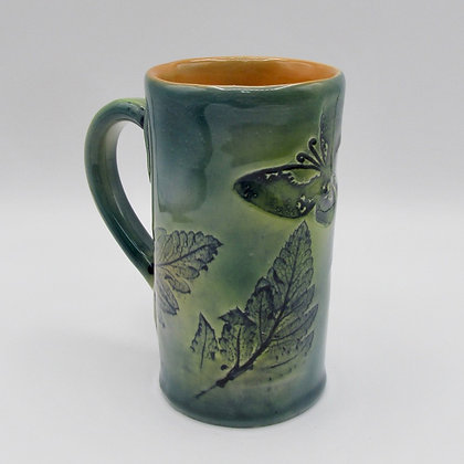 Tall Mug - Green with Butterfly