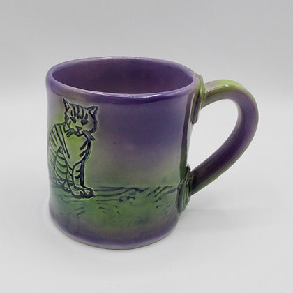 Short Mug - Purple with Cat