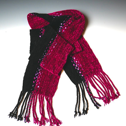 Fuchsia/Black Scarf with Ribbons