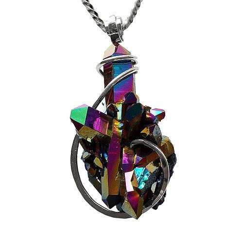 Large Titanium Quartz Necklace