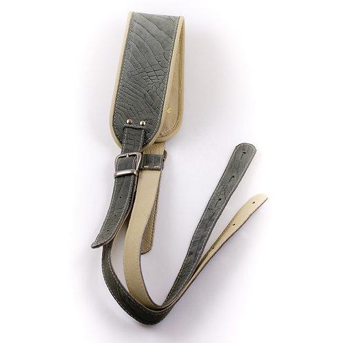 Classic retro strap grey faux alligator leather