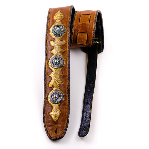 Real snake with open concho's on brown leather