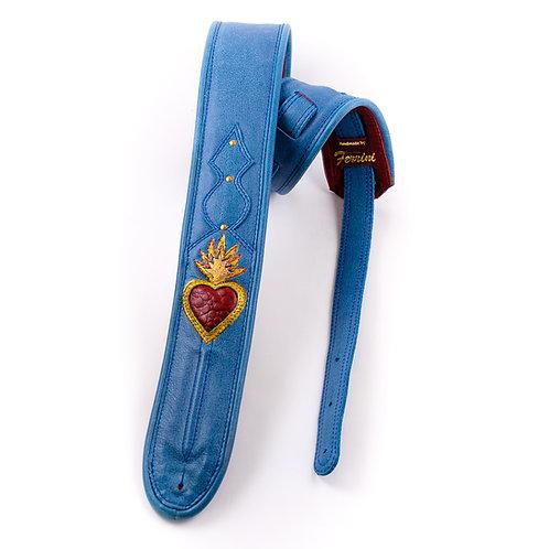 Blue guitar strap: Sacred heart in sky blue