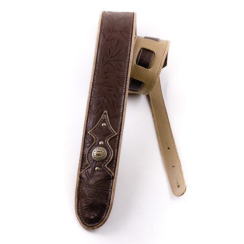Guitar strap: Brown embossed beauty