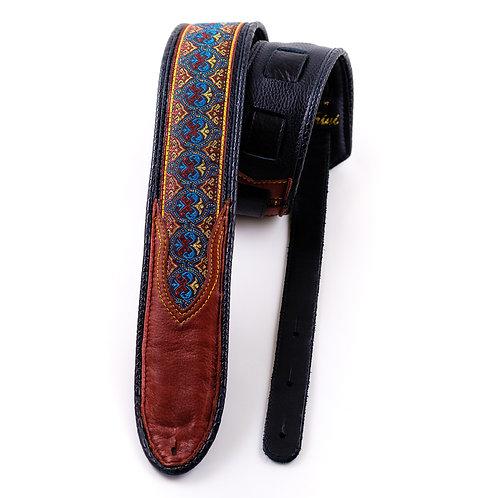 Guitar strap: Indian trim in burgundy leather