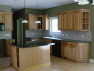 Kitchen with a granite island