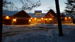 Night view of the log home