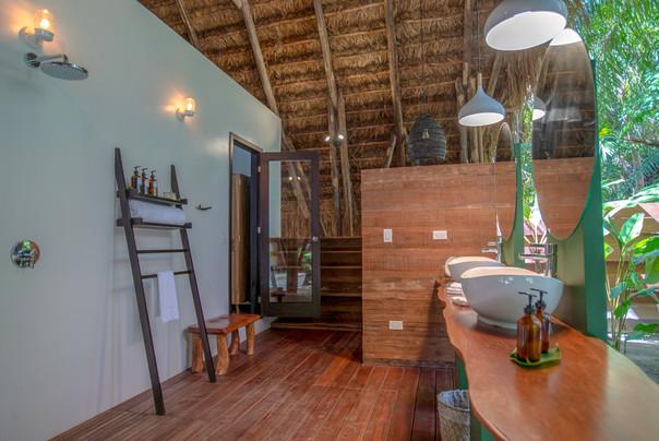 Open air bathroom at Beachfront Casita