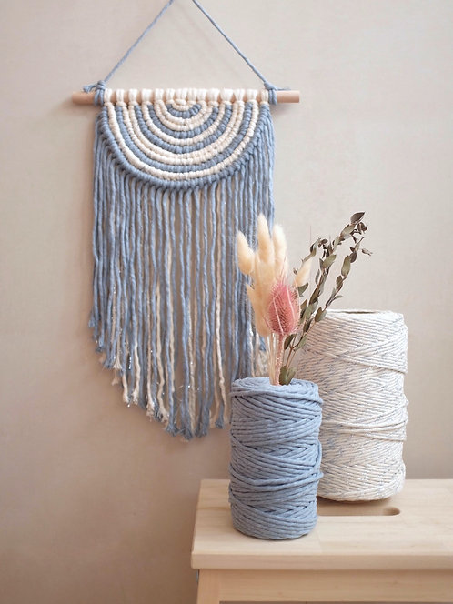 Dusty Blue-Silver Semi-circle Wall Hanging